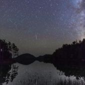 A view of the night sky over Jordon Pond at Acadia National Park
