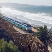 Train along ocean coast