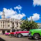 Old cars parked in Cuba