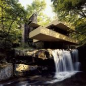 Exterior of house with waterfall