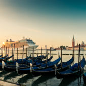 Sunset Gondolas and Cruise ship Venice, Italy