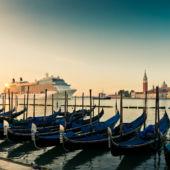 Sunset Gondolas and Cruise ship Venice, Italy