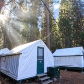 View of glamping tents in Half Dome Village, Yosemite