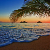 A waterside view of Lanikai Beach, Oahu, Hawaii, with gentle surf, palm trees, and sunset.
