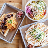 Mexican food on trays