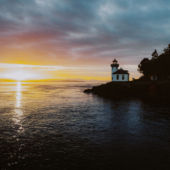Lime Kiln Light At Sunset By Mio Monasch
