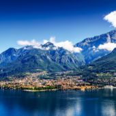 A view of the small town of Mandello del Lario, on Lake Como, Italy