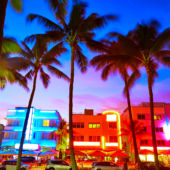 Colorful buildings along Miami Beach