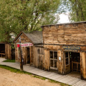 wood walkway and wood buildings of ghost town