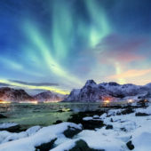 Northern Lights Over The Lofoten Islands Norway