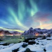 Northern Lights Over The Lofoten Islands Norway