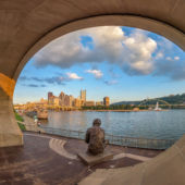 Panorama Of The Mr  Rogers Statue On The North Shore Of Pittsburgh