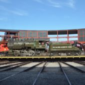 A view of vintage trains at Steamtown National Historic Site in Scranton, PA.