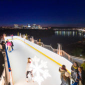 rooftop ice skating bar