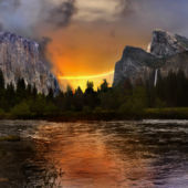 A view of Yosemite at sunset