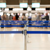 A view of airport security lines, blurry