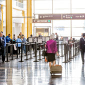 A view of the TSA PreCheck lines at an airport.