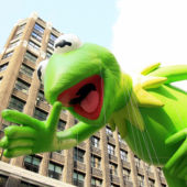 Kermit the Frog balloon at the Macy's Thanksgiving Parade in New York City