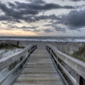 A view of the entrance to a beach at sunset on Tybee Island, Georgia.