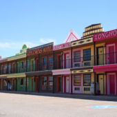 Street view of the Big Texan Motel, which looks like an old west street.
