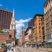 A view of Boston's Freedom Trail with historic buildings and church