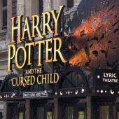 A view of the Broadway theater marquee for Harry Potter and the Cursed Child