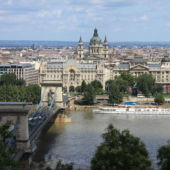 View of the river, chain bridge, and skyline of Budapest, Hungary.