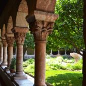 A view of the garden at The Cloisters museum in NYC.