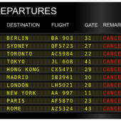 Flight Cancellation sign