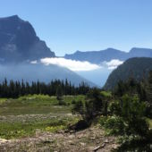 A view of the mountains at the continental divide at Glacier National Park's Logan Pass.