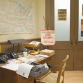 model of JFK's campaign office at the JFK Museum, Boston
