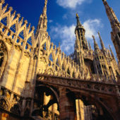 Detail of Duomo Cathedral in Milan Italy