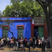 Bright blue exterior of the Frida Kahlo Museum in Mexico City