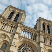 A view of the main structure and two front towers of Notre-Dame de Paris.