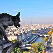 View from Notre Dame, Paris, including a gargoyle