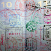 A passport full of colorful stamps