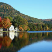 fall, foliage, vermont, lake