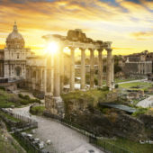 A view of the ruins at the Forum in Rome, Italy
