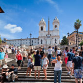 The Spanish Steps in Rome crowded with tourists