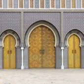 A view of the colorful doors of the Royal Palace in Fes, Morocco