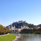 A panoramic view of Salzburg, Austria, including the river.