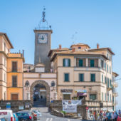 A view of the town piazza in Soriano nel Cimino, Lazio, Italy