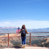 Tourist overlooking Bryce Canyon Utah