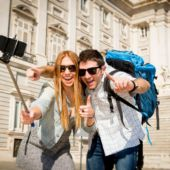 Tourists with Selfie Stick in Spain