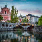 Tromostovje Bridge In Ljubljana