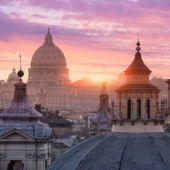 Vatican rooftops at sunset