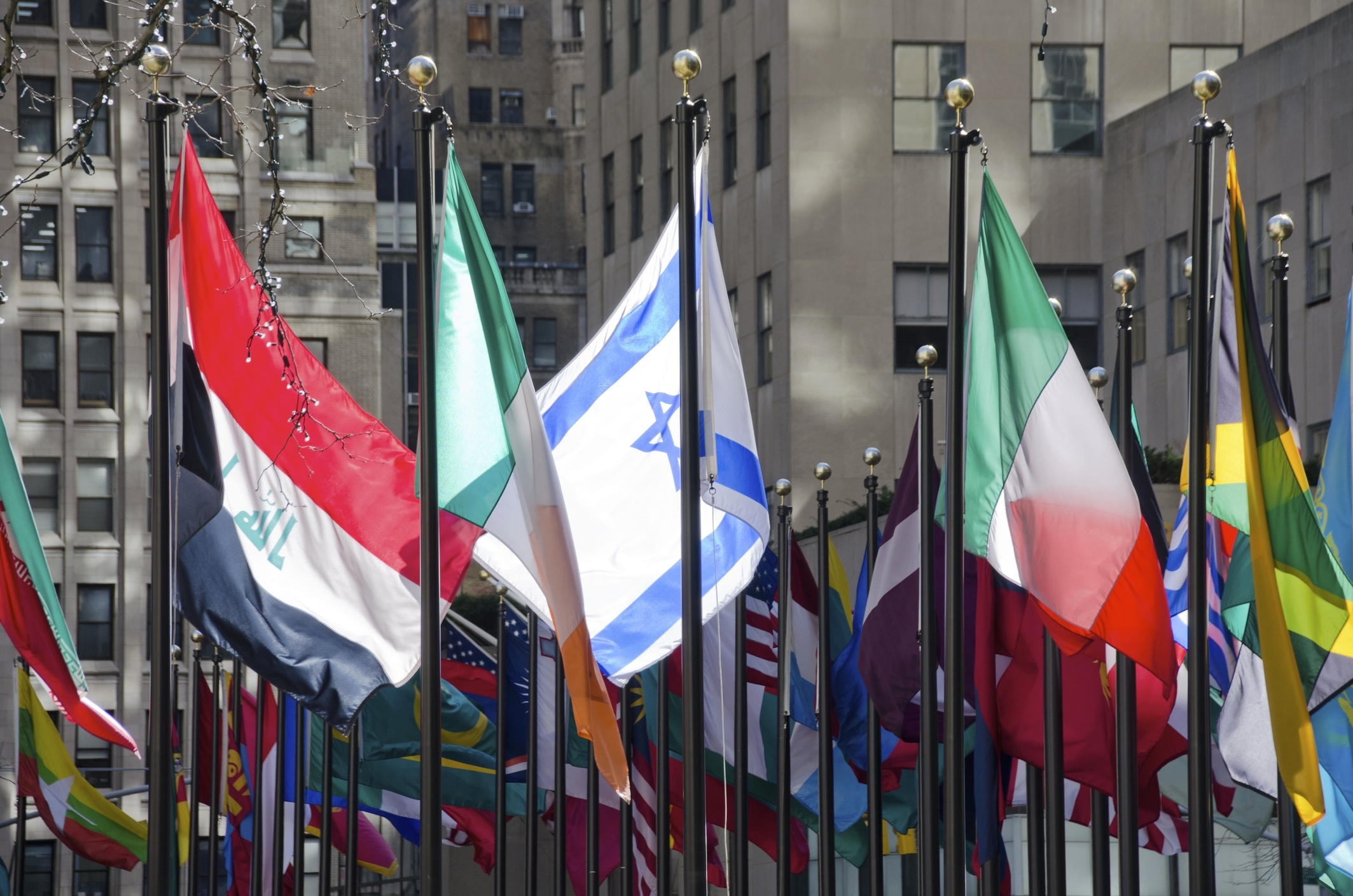 Flags at Rockefeller Cener