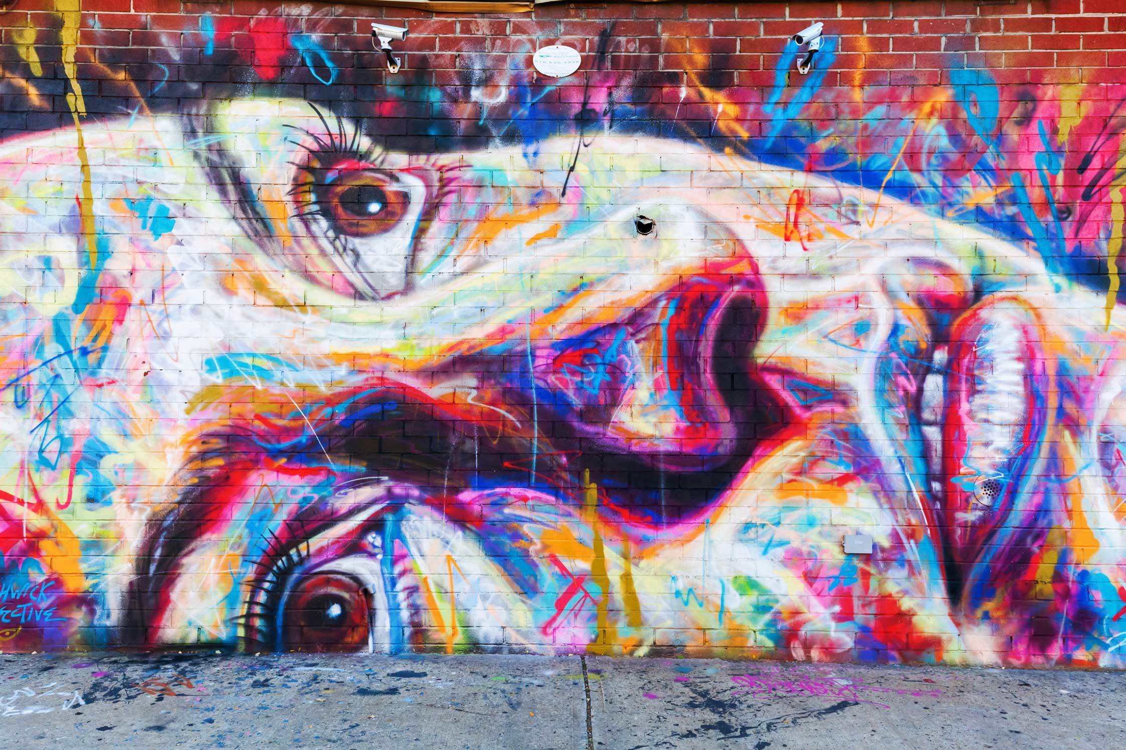 Colourful mural of a face on the side of a brick building in NYC